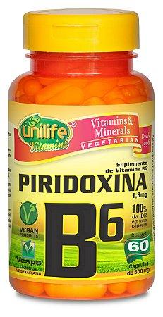 Piridoxina (Vitamina B6) - 60 cápsulas - Unilife Vitamins