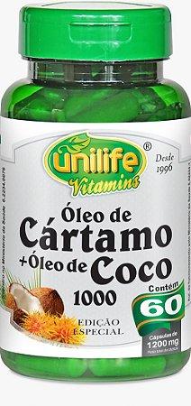 Óleo de Cártamo + Óleo de Coco 1000 - 120 cápsulas - Unilife Vitamins