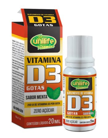 Vitamina D3 em Gotas - 20ml - Menta - Unilife Vitamins
