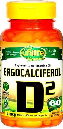 Vitamina D2 (Ergocalciferol) - 60 cápsulas - Unilife Vitamins