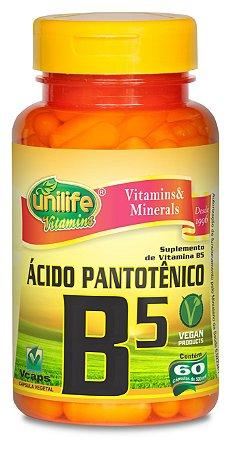 Ácido Pantotênico (Vitamina B5) - 60 cápsulas - Unilife Vitamins