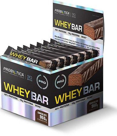 Whey Bar - 24 barras - Chocolate - Probiótica