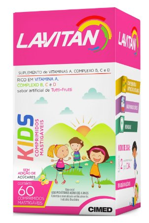 Kids - 60 comprimidos mastigáveis - Tutti Frutti - Lavitan Vitaminas