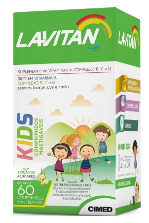 Kids - 60 comprimidos mastigáveis - Laranja Uva Limão - Lavitan Vitaminas