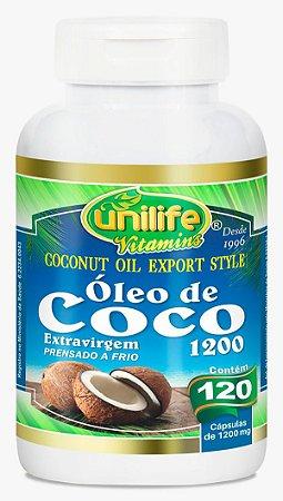 Óleo de Coco Extravirgem 1200 - 120 cápsulas - Unilife Vitamins