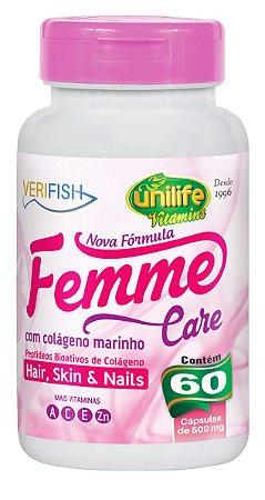 Femme Care Colágeno Marinho Verifish - 60 cápsulas - Unilife Vitamins