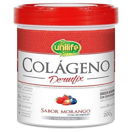 Colágeno Dermfix - 200g - Morango com blueberry - Unilife Vitamins