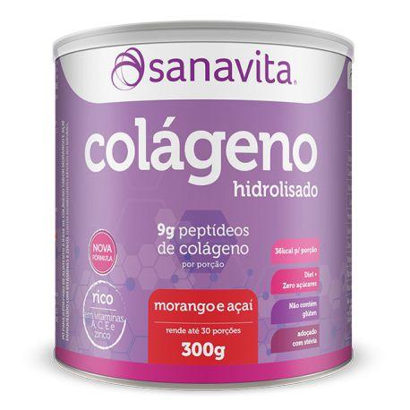 Colágeno Hidrolisado - 300g - Morango e açaí - Sanavita