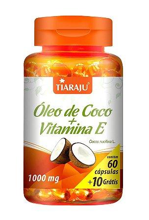 Óleo de Coco + Vitamina E - 60+10 cápsulas - Tiaraju