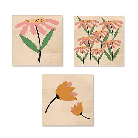 Kit MooMoo - Flor Solitária, Flores e Flores Amarelas
