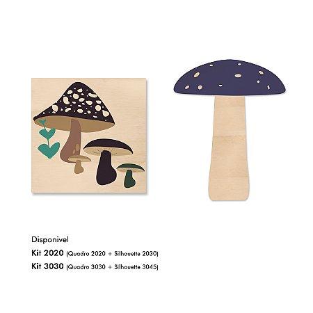 Kit MooMoo - Cogumelos Azul e Quadro Silhouette