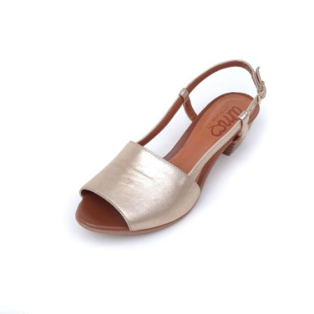 Sandália de Salto em Couro Mimi Dourada
