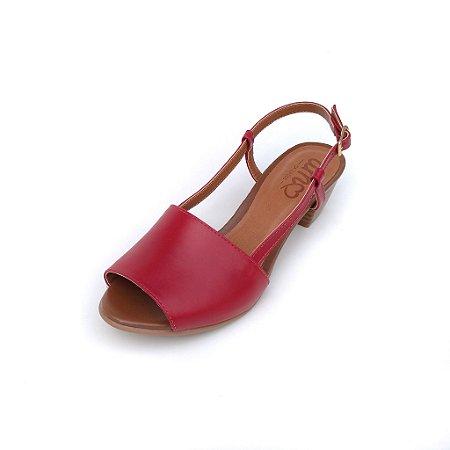 Sandália de Salto em Couro Mimi Vermelha