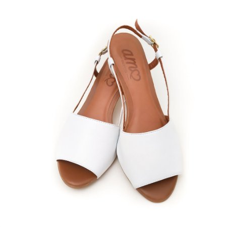 Sandália de Salto em Couro Mimi Branca