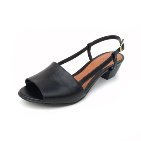 Sandália de Salto em Couro Mimi Preta