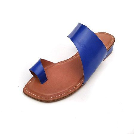 Sandália Rasteira em Couro Lori Azul