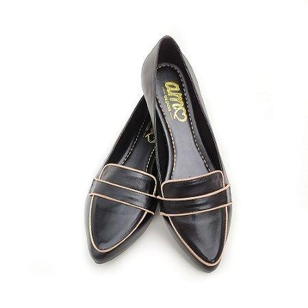 Sapato em Couro Mocassim Preto