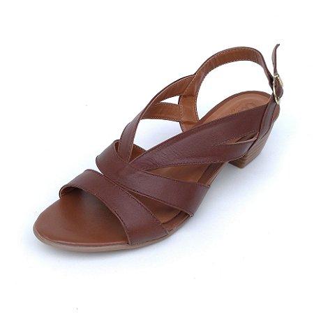 Sandália de Salto em Couro Mylla Marrom