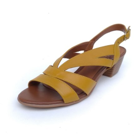 Sandália de Salto em Couro Mylla Mostarda