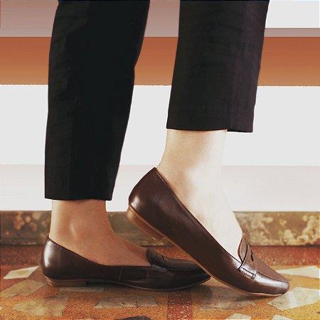 Sapato em Couro Mocassim Clássico Marrom