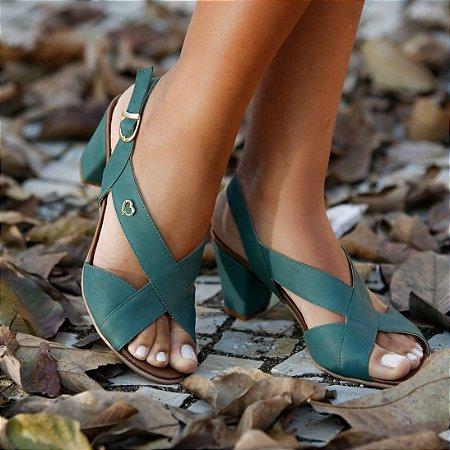 Sandália de Salto em Couro Lovely Verde