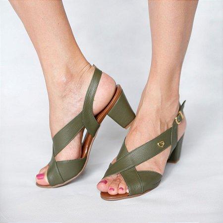 Sandália de Salto em Couro Lovely Verde Militar