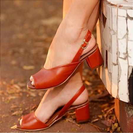 Sandália de Salto em Couro Ádala Caramelo