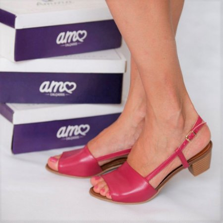 Sandália de Salto em Couro Mimi Rosa