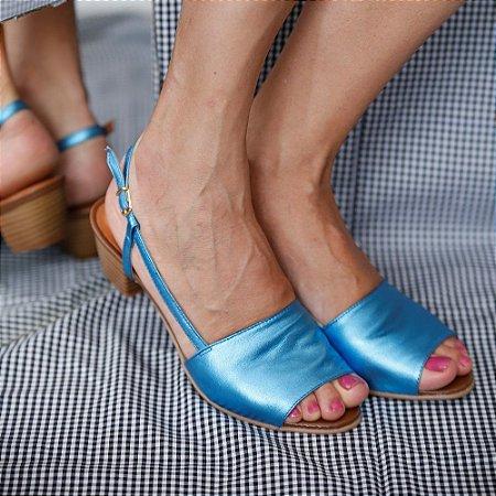 Sandália de Salto em Couro Mimi Azul Metálico