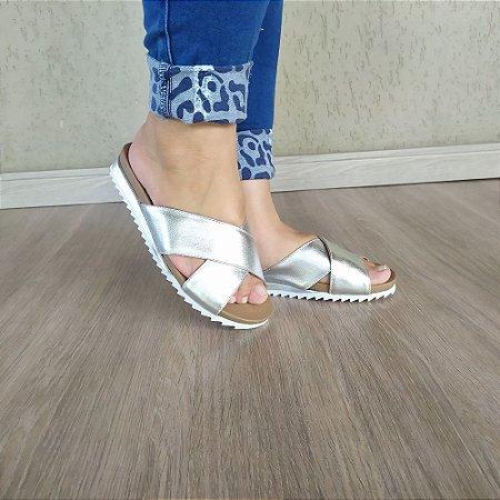 Sandália Flatform Meg em Couro Prata