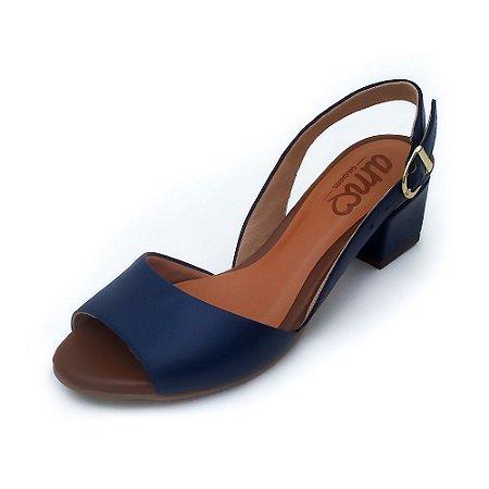 Sandália de Salto em Couro Uly Azul Marinho