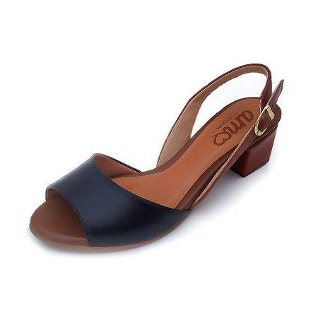 Sandália de Salto em Couro Uly Preta e caramelo