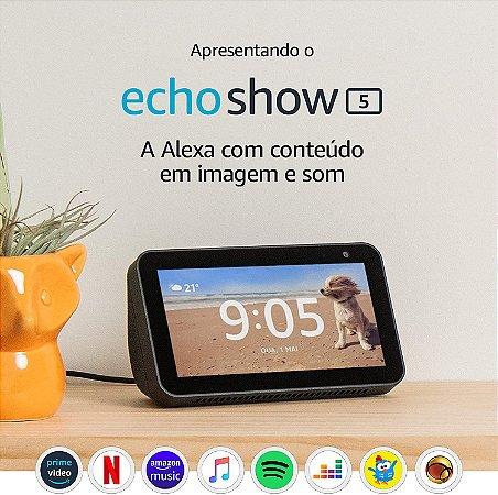 "Smart Speaker Tela 5,5"" Amazon Echo Show 5 com Alexa - Preto"