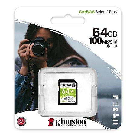 Cartão de Memória Para Câmeras Fotográficas Kingston Canvas Select SD Card 64GB Classe 10