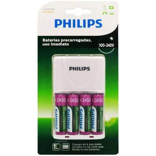 Carregador de Pilhas Philips com 4 Pilhas Aa Recarregáveis