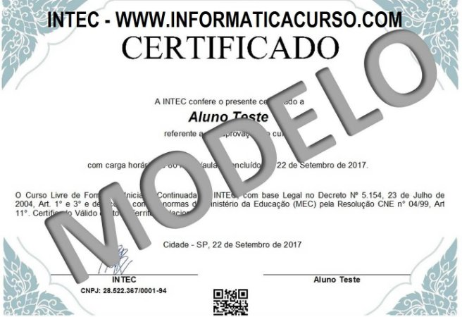 Certificado Rápido IMPRESSO (Escolha o Curso)