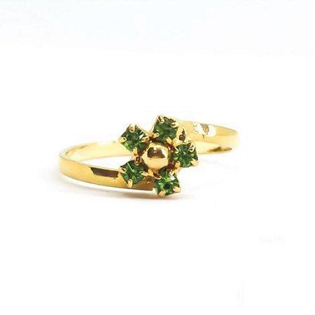 Anel Infantil Florzinha Verde Di Capri Semi Jóias X Ouro