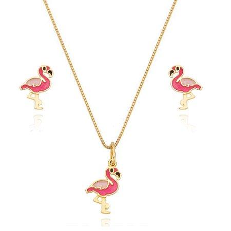 Conjunto Infantil Colar e Brinco Flamingo Di Capri Semi Jóias X Ouro