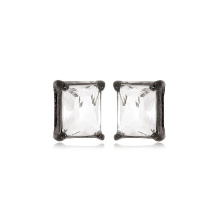 Brinco Retângulo Cristal Di Capri Semi Jóias X Ródio Negro
