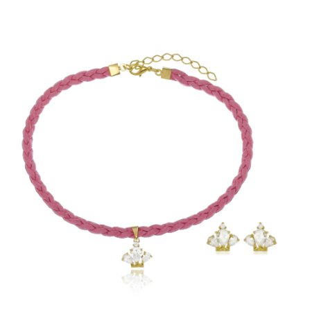 Conjunto Infantil Gargantilha e Brinco Coroa de Cristal Di Capri Semi Jóias X Ouro