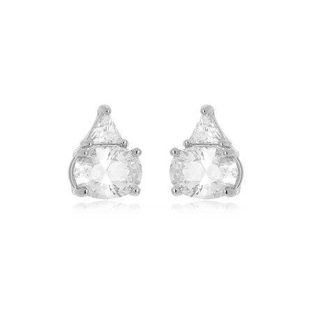 Brinco Tókio Cristal Di Capri Semi Jóias X Ouro Branco