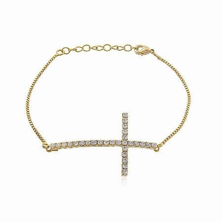 Pulseira Crucifixo Cristal Di Capri Semi Jóias X Ouro