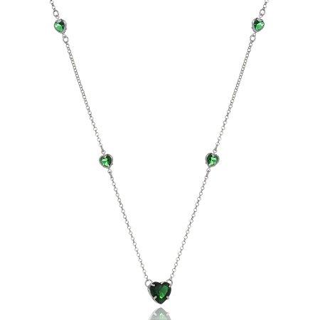 Colar Green Heart Di Capri Semi Jóias X Ouro Branco