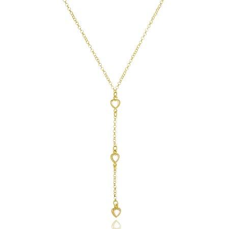 Colar Infantil Gravatinha Corações Cristal Di Capri Semi Jóias X Ouro