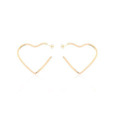 Brinco Argola Coração Médio Di Capri Semi Jóias X Ouro