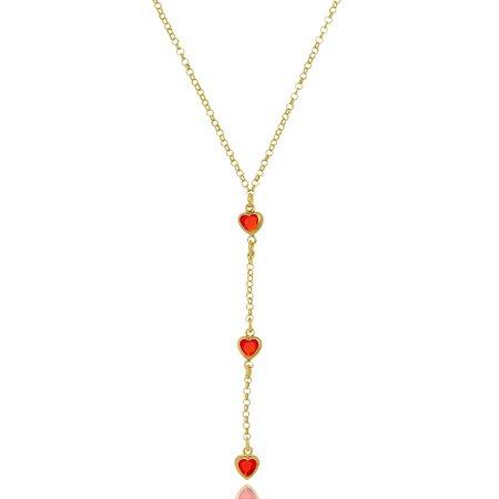 Colar Infantil Gravatinha Corações Vermelhos Di Capri Semi Jóias X Ouro