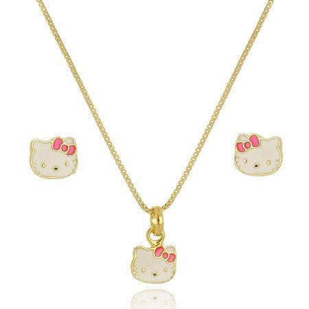 Conjunto Infantil Colar e Brinco Hello Kitty Di Capri Semi Jóias X Ouro
