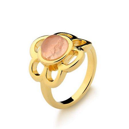 Anel Infantil Flor Quartzo Rosa Pedra Natural Di Capri Semi Jóias X Ouro