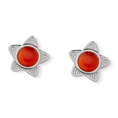 Brinco Infantil Estrela Agata Vermelha Pedra Natural Di Capri Semi Jóias X Ouro Branco