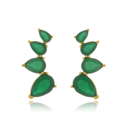 Brinco Ear Cuff Quatro Gotas Esmeralda Di Capri Semi Jóias X Ouro